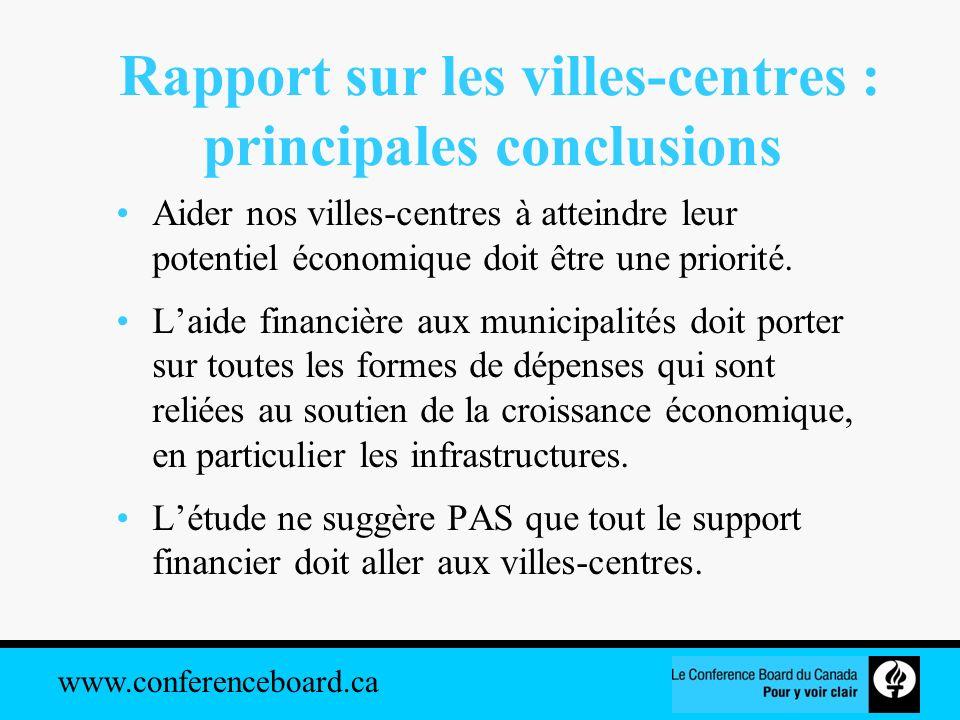 Rapport sur les villes-centres : principales conclusions