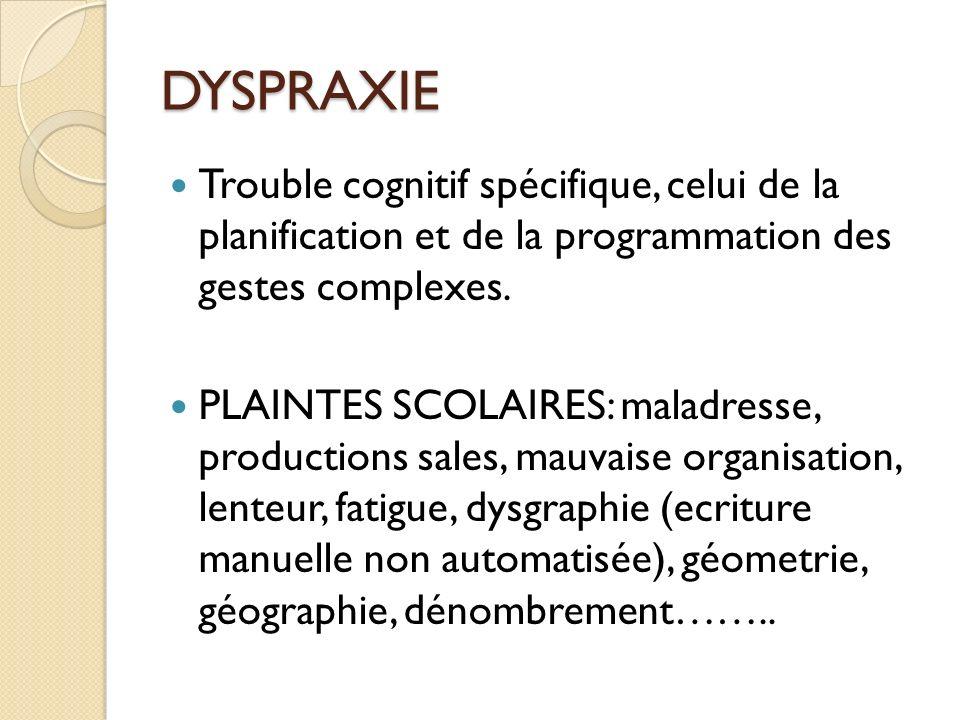 DYSPRAXIE Trouble cognitif spécifique, celui de la planification et de la programmation des gestes complexes.