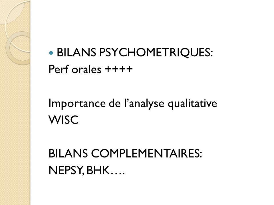 BILANS PSYCHOMETRIQUES: