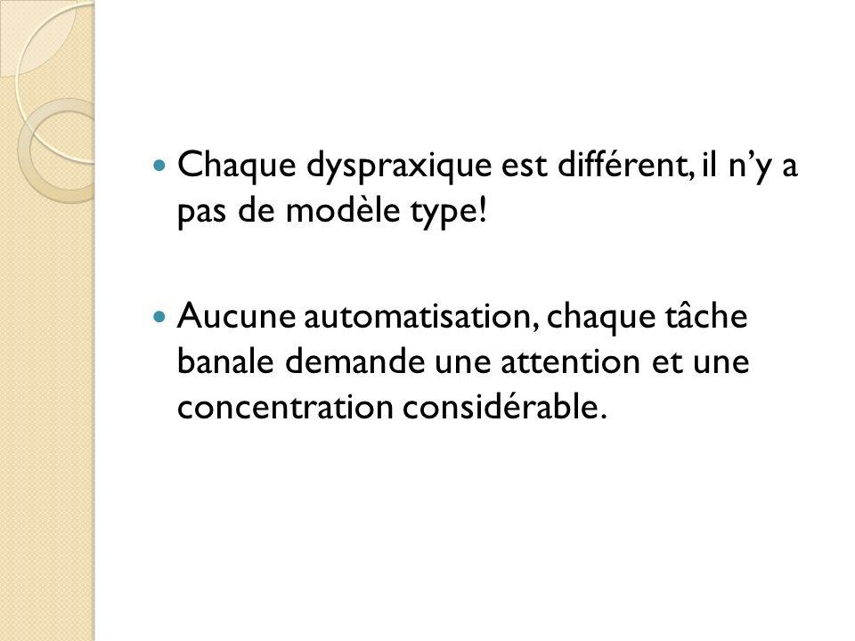 Chaque dyspraxique est différent, il n'y a pas de modèle type!