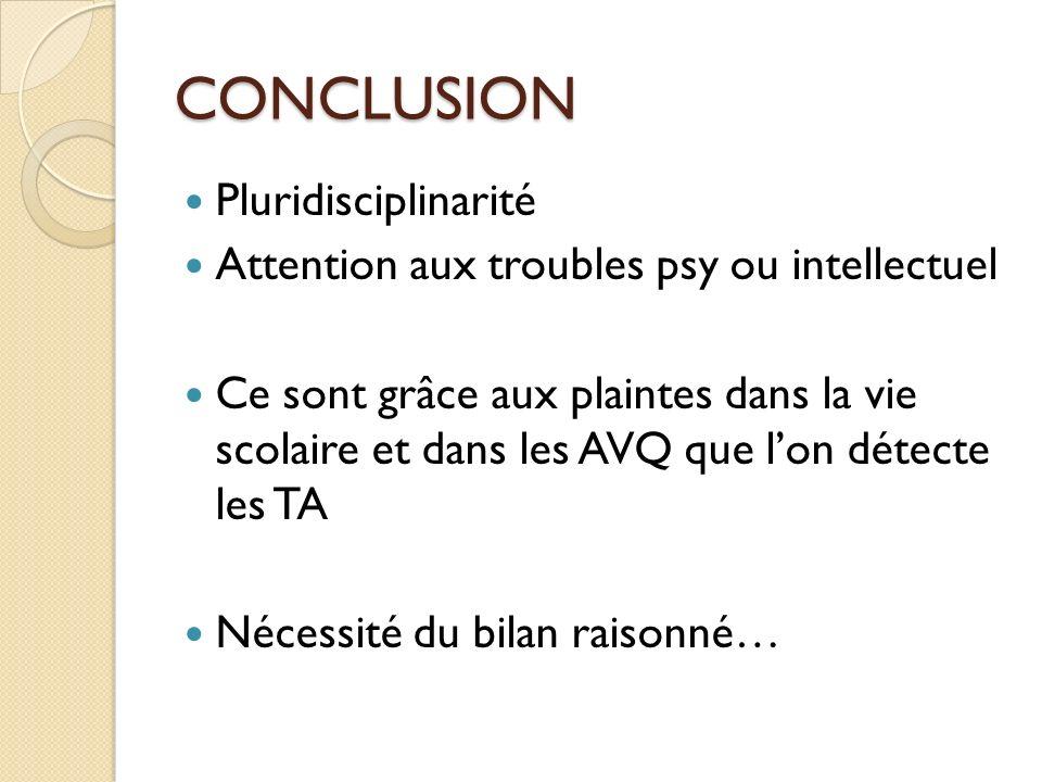 CONCLUSION Pluridisciplinarité