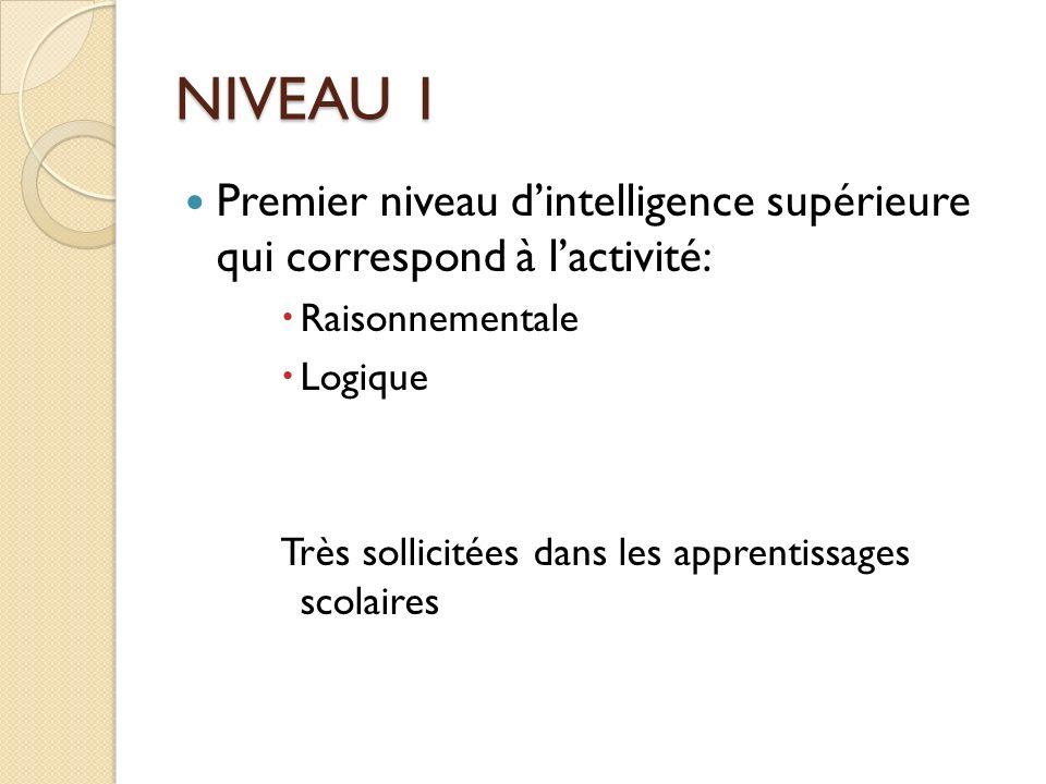NIVEAU 1 Premier niveau d'intelligence supérieure qui correspond à l'activité: Raisonnementale. Logique.