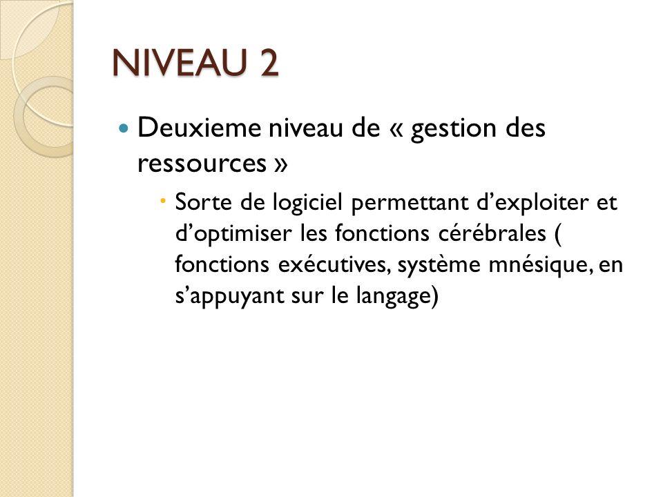 NIVEAU 2 Deuxieme niveau de « gestion des ressources »