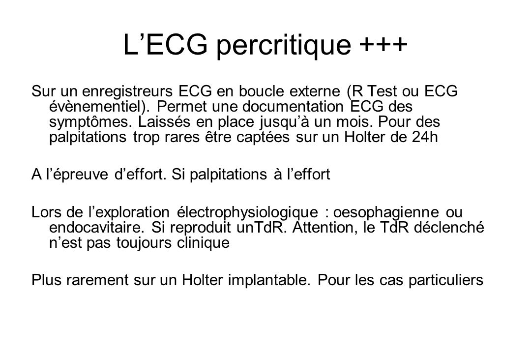 L'ECG percritique +++