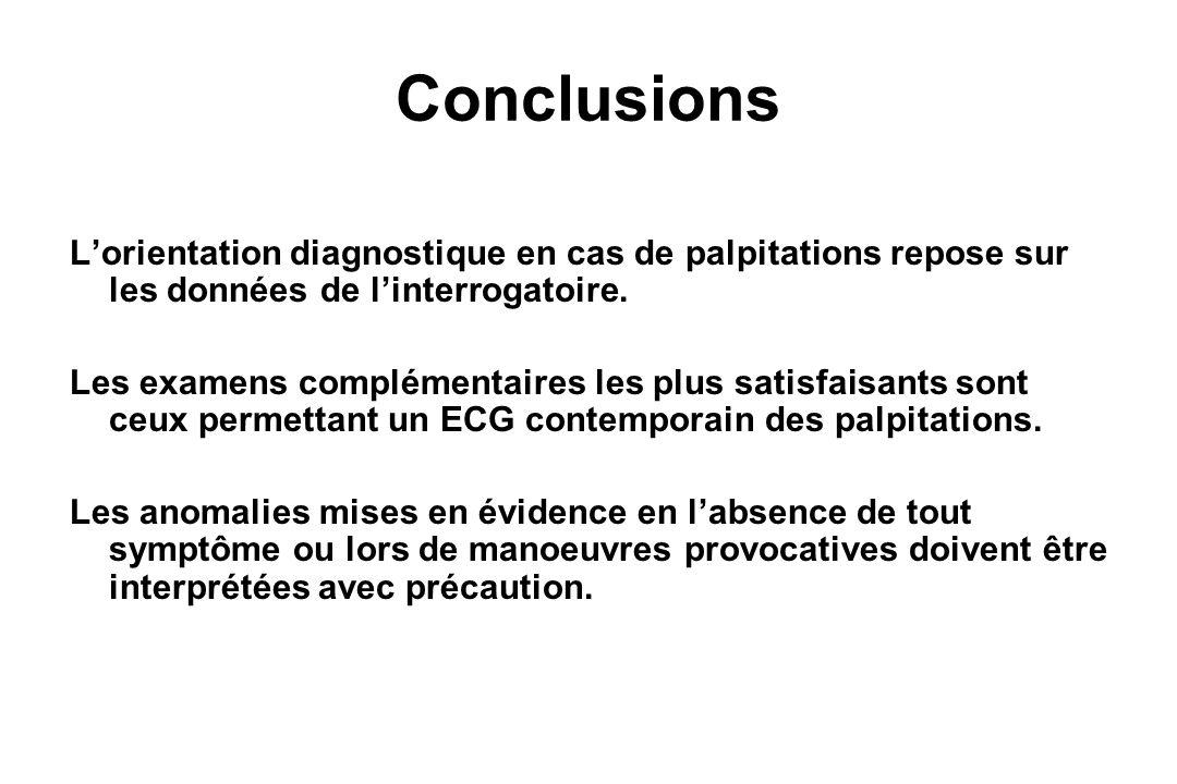 Conclusions L'orientation diagnostique en cas de palpitations repose sur les données de l'interrogatoire.