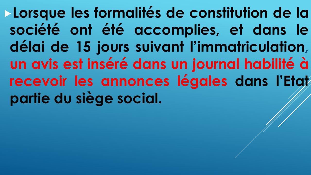 Ohada regime general des societes ppt t l charger Formalites constitution sci