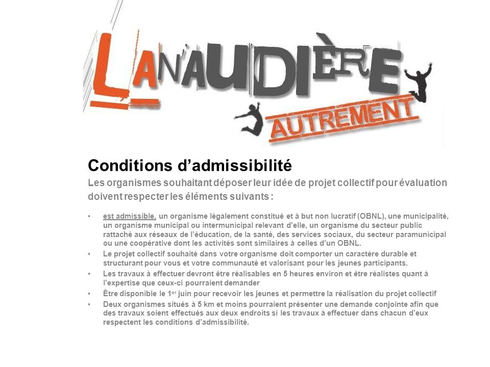 Conditions d'admissibilité