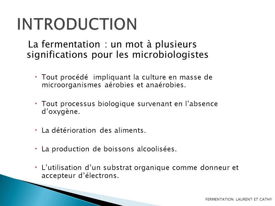 INTRODUCTION La fermentation : un mot à plusieurs significations pour les microbiologistes.