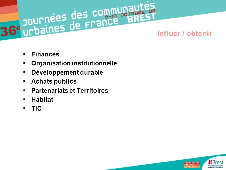 Influer / obtenir Finances Organisation institutionnelle