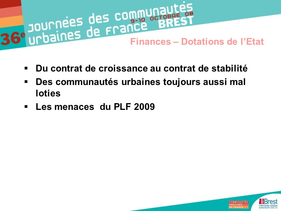 Finances – Dotations de l'Etat
