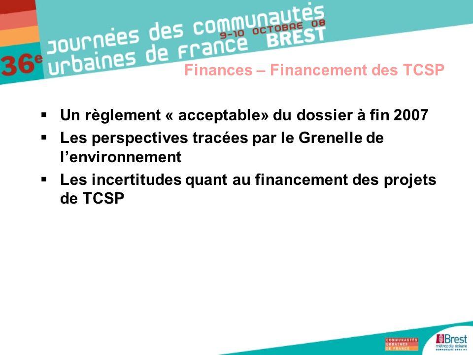 Finances – Financement des TCSP