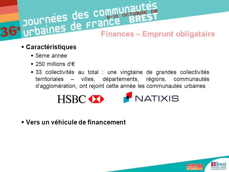 Finances – Emprunt obligataire