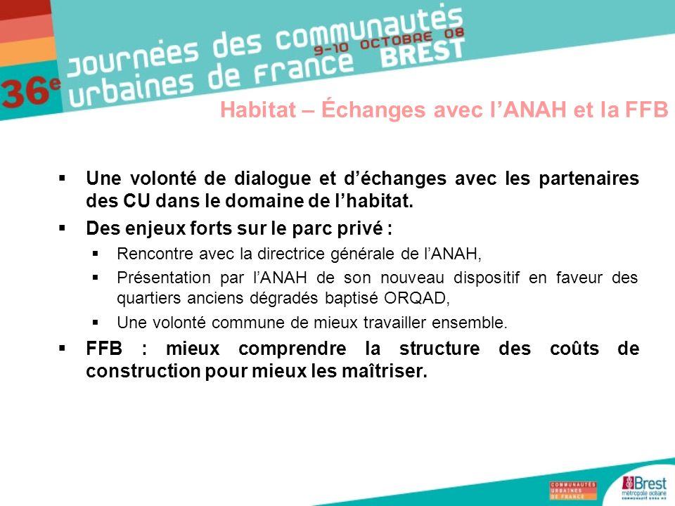 Habitat – Échanges avec l'ANAH et la FFB