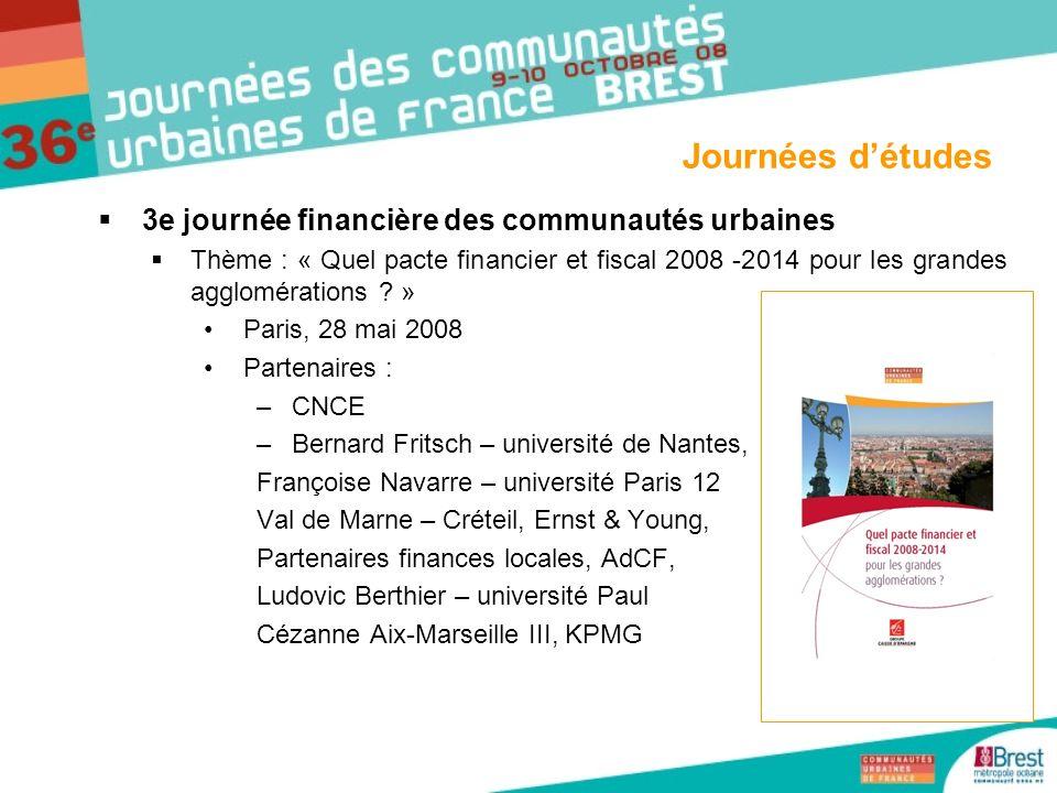 Journées d'études 3e journée financière des communautés urbaines
