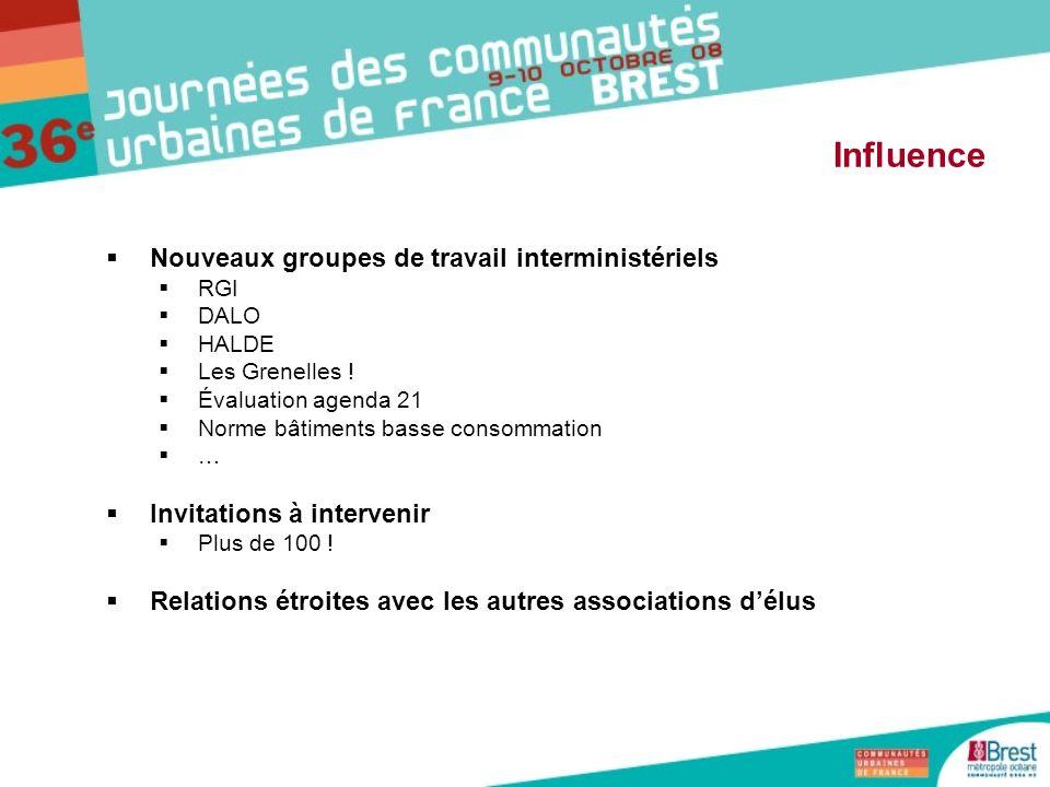 Influence Nouveaux groupes de travail interministériels