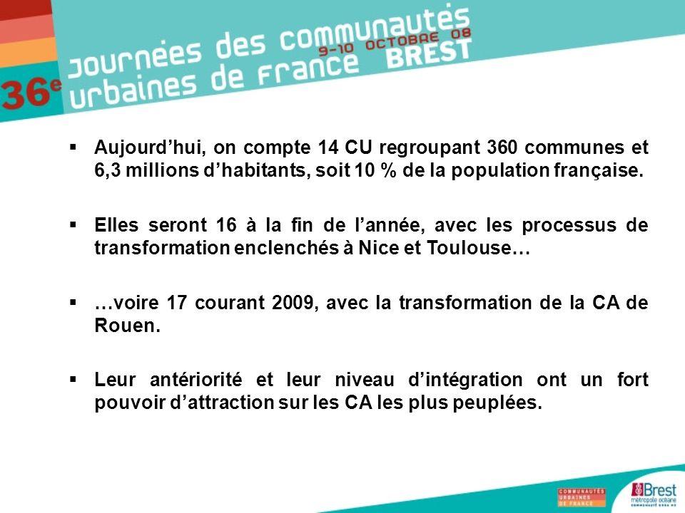 …voire 17 courant 2009, avec la transformation de la CA de Rouen.