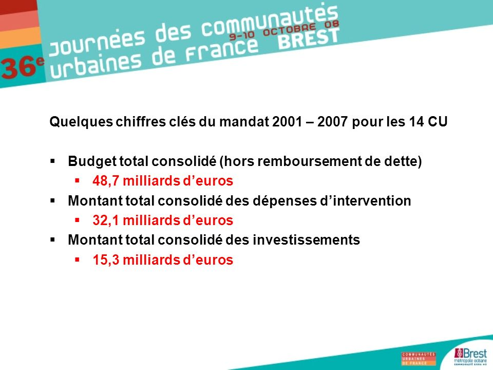 Quelques chiffres clés du mandat 2001 – 2007 pour les 14 CU