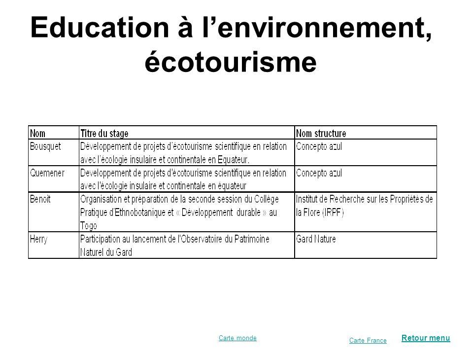Education à l'environnement, écotourisme
