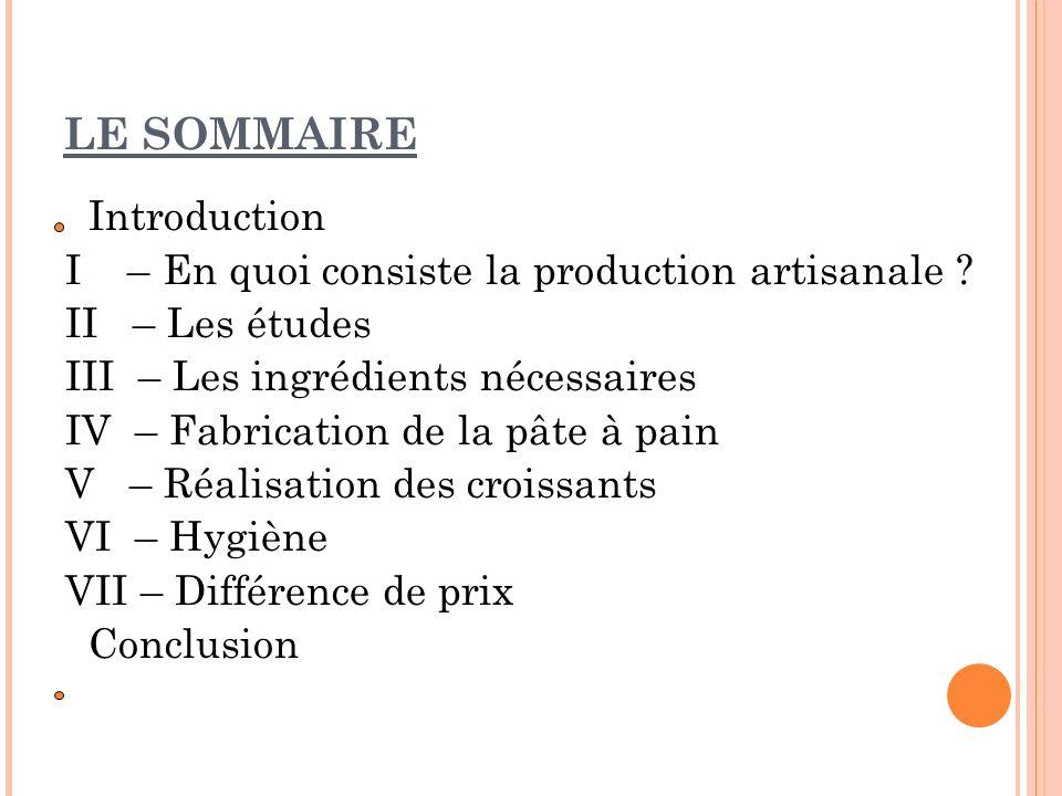 LE SOMMAIRE Introduction