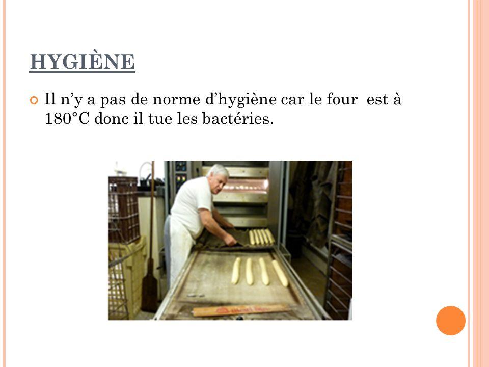 HYGIÈNE Il n'y a pas de norme d'hygiène car le four est à 180°C donc il tue les bactéries.