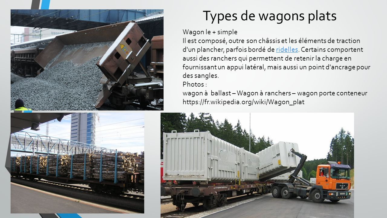 Types de wagons plats Wagon le + simple