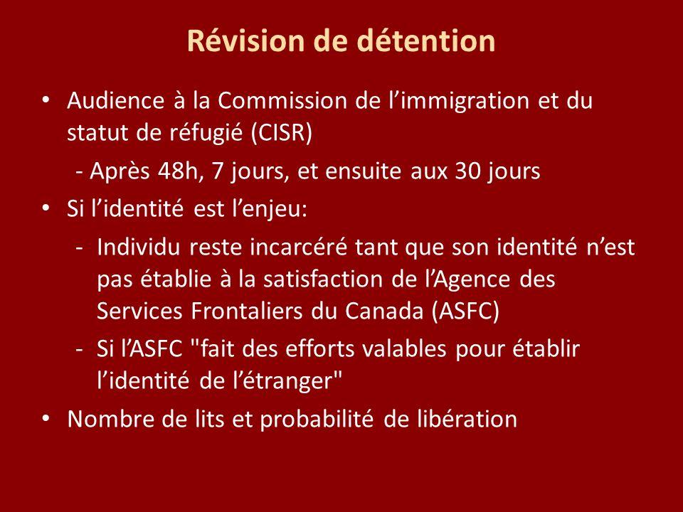 Révision de détentionAudience à la Commission de l'immigration et du statut de réfugié (CISR) - Après 48h, 7 jours, et ensuite aux 30 jours.