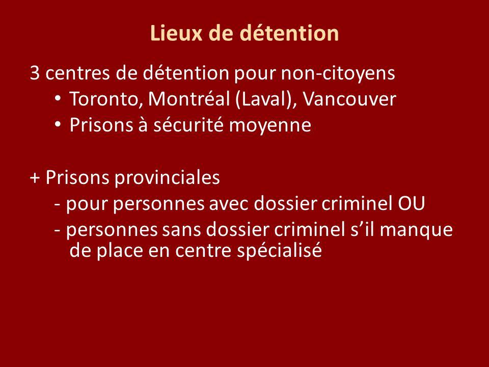 Lieux de détention 3 centres de détention pour non-citoyens