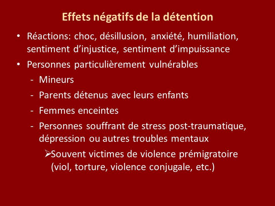 Effets négatifs de la détention