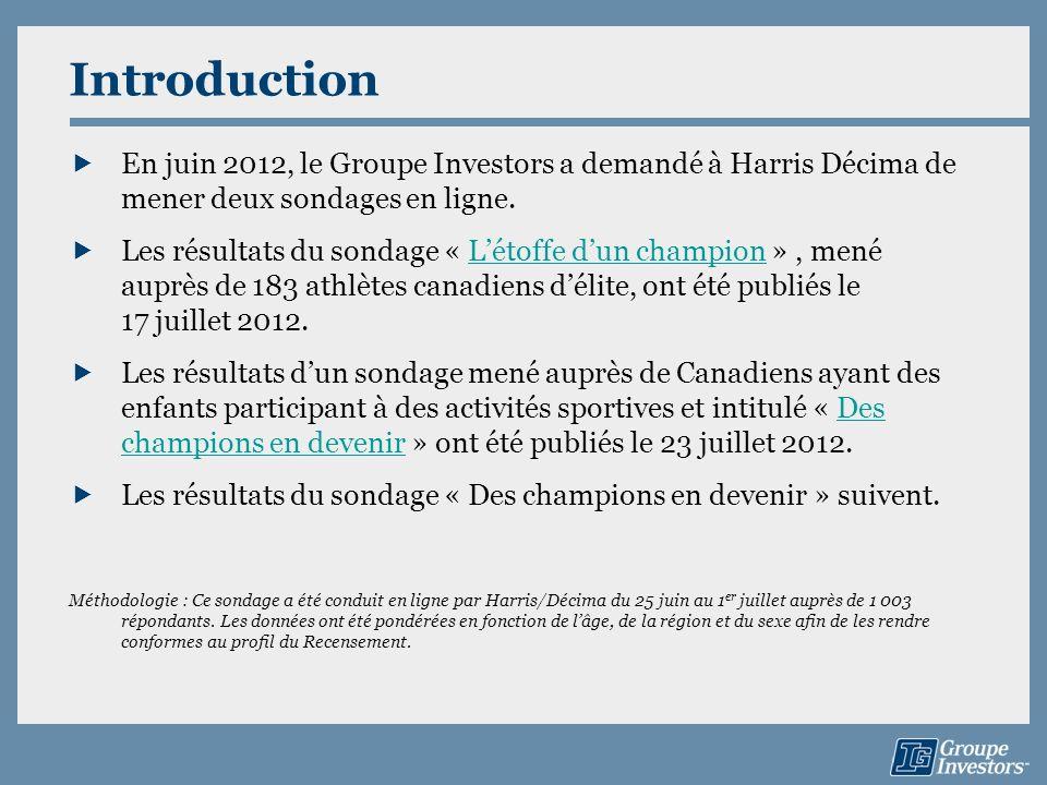 Introduction En juin 2012, le Groupe Investors a demandé à Harris Décima de mener deux sondages en ligne.
