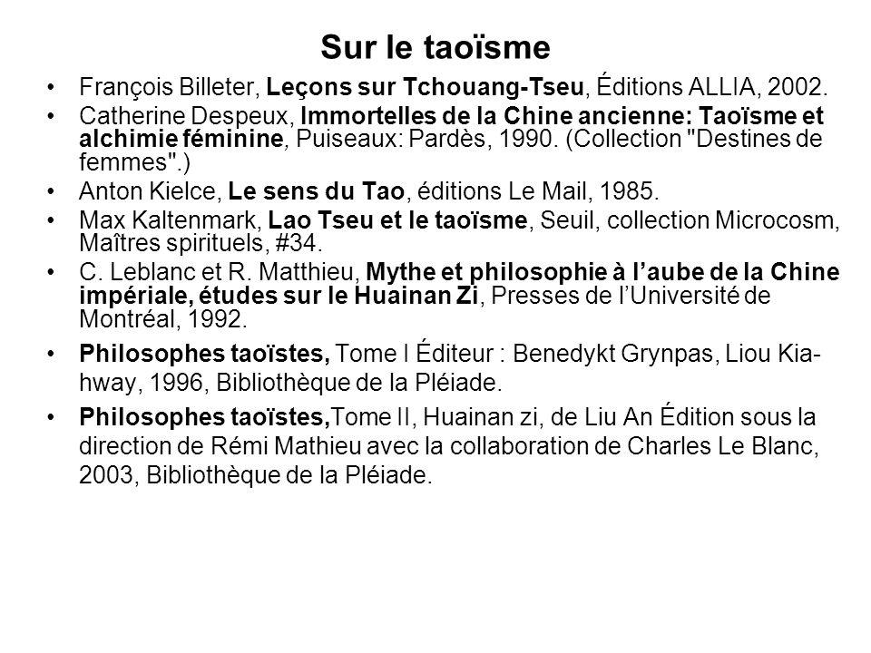 Sur le taoïsme François Billeter, Leçons sur Tchouang-Tseu, Éditions ALLIA, 2002.