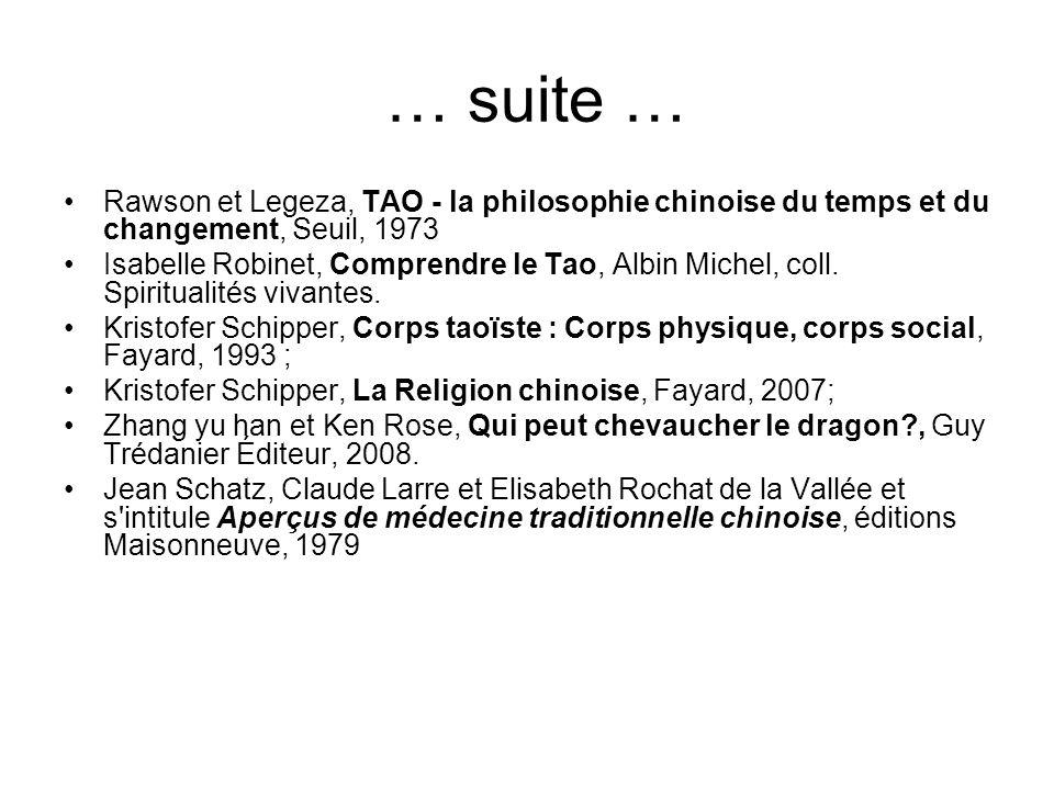 … suite …Rawson et Legeza, TAO - la philosophie chinoise du temps et du changement, Seuil, 1973.