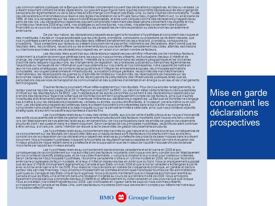 Mise en garde concernant les déclarations prospectives