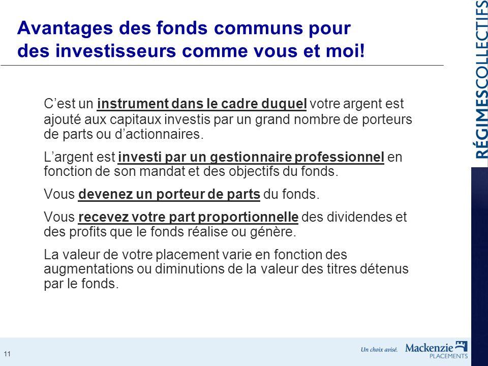 Avantages des fonds communs pour des investisseurs comme vous et moi!