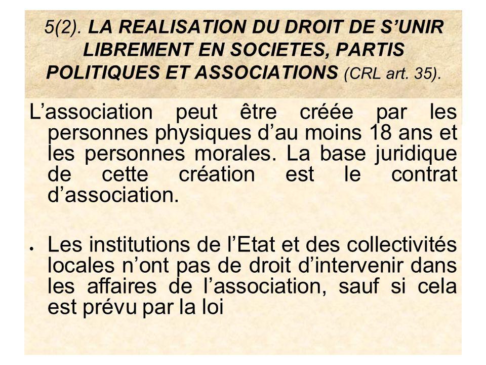 5(2). LA REALISATION DU DROIT DE S'UNIR LIBREMENT EN SOCIETES, PARTIS POLITIQUES ET ASSOCIATIONS (CRL art. 35).