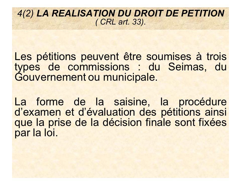4(2) LA REALISATION DU DROIT DE PETITION ( CRL art. 33).