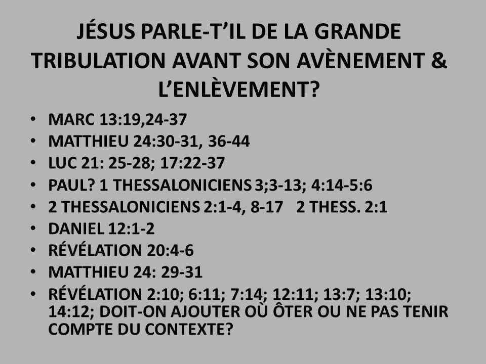 grandes tribulation avant
