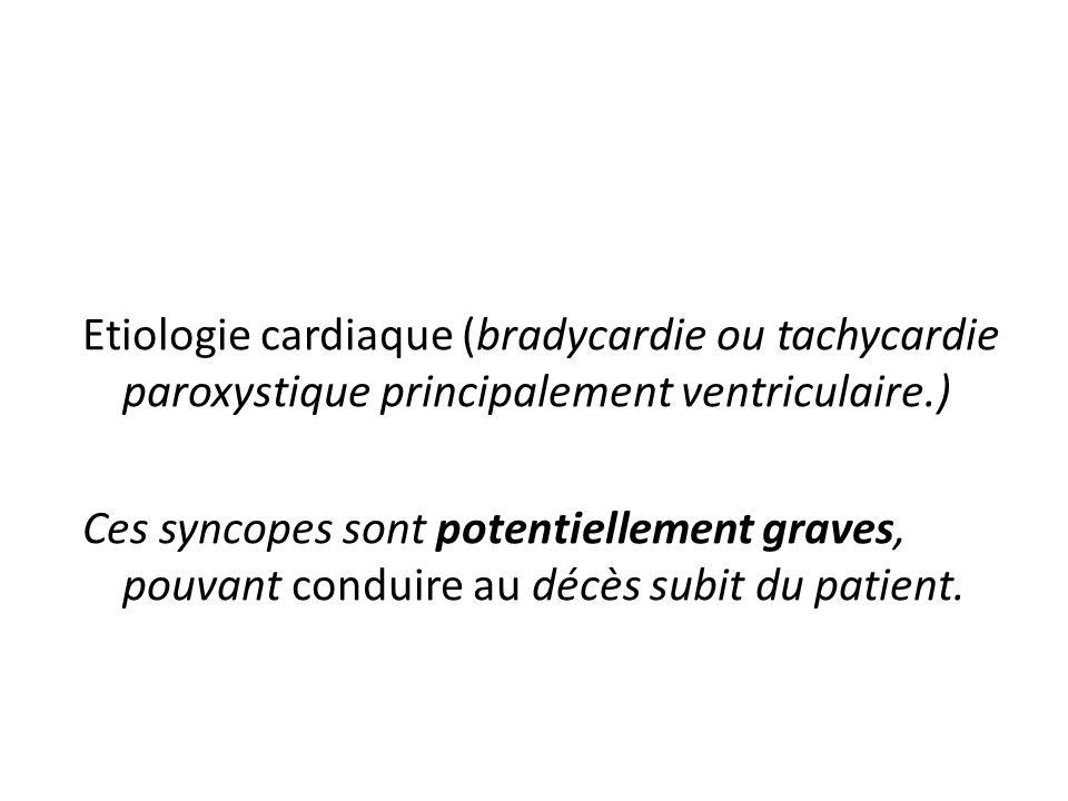 Etiologie cardiaque (bradycardie ou tachycardie paroxystique principalement ventriculaire.)