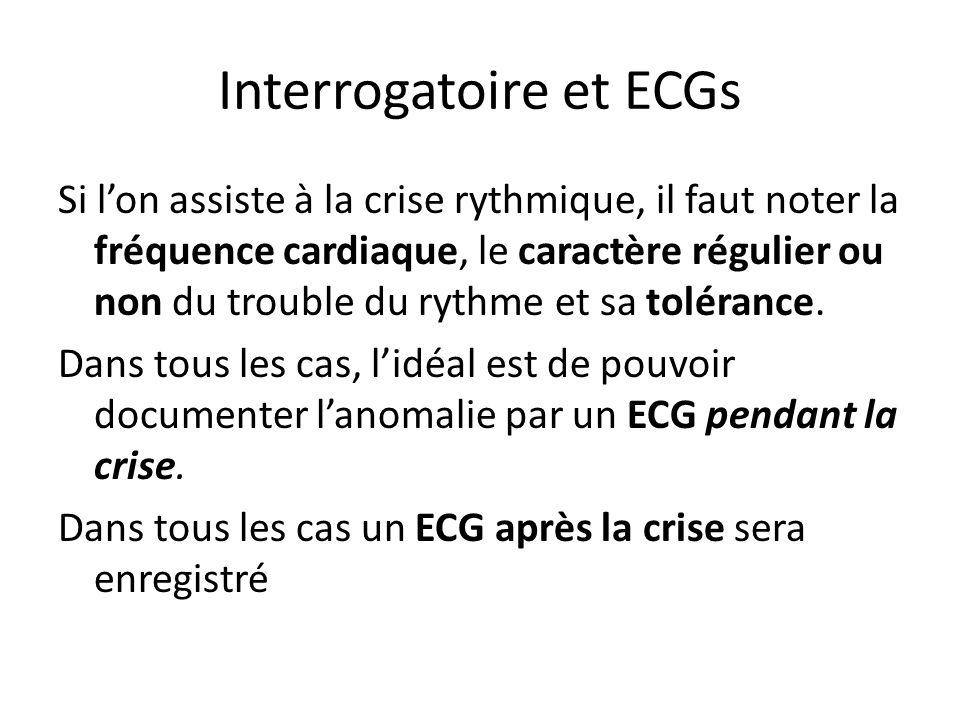 Interrogatoire et ECGs