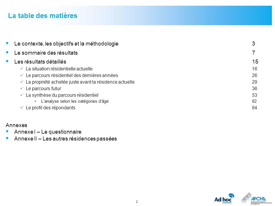 La table des matières Le contexte, les objectifs et la méthodologie 3