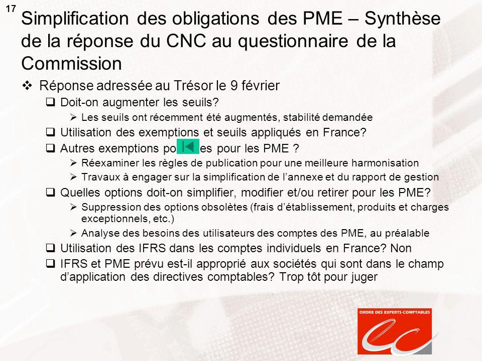 Simplification des obligations des PME – Synthèse de la réponse du CNC au questionnaire de la Commission