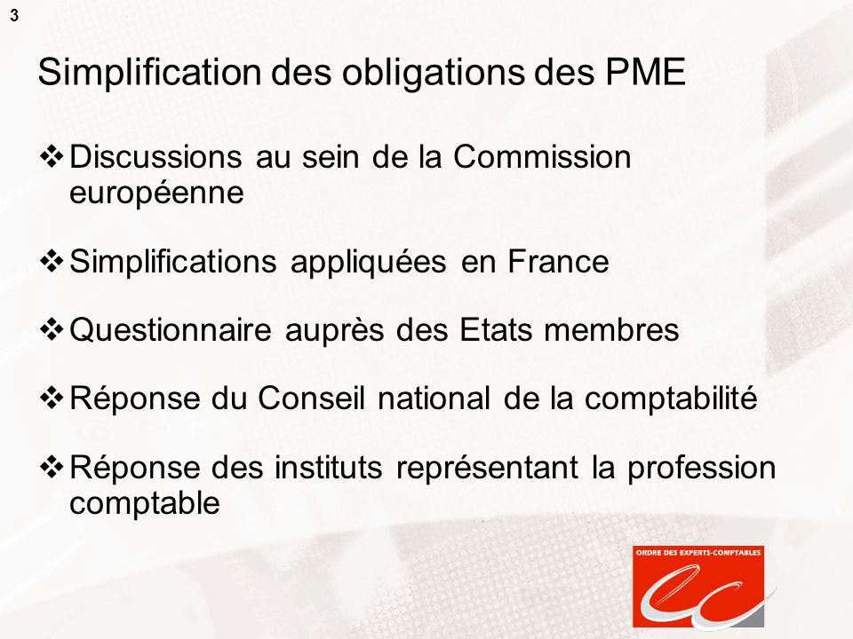 Simplification des obligations des PME