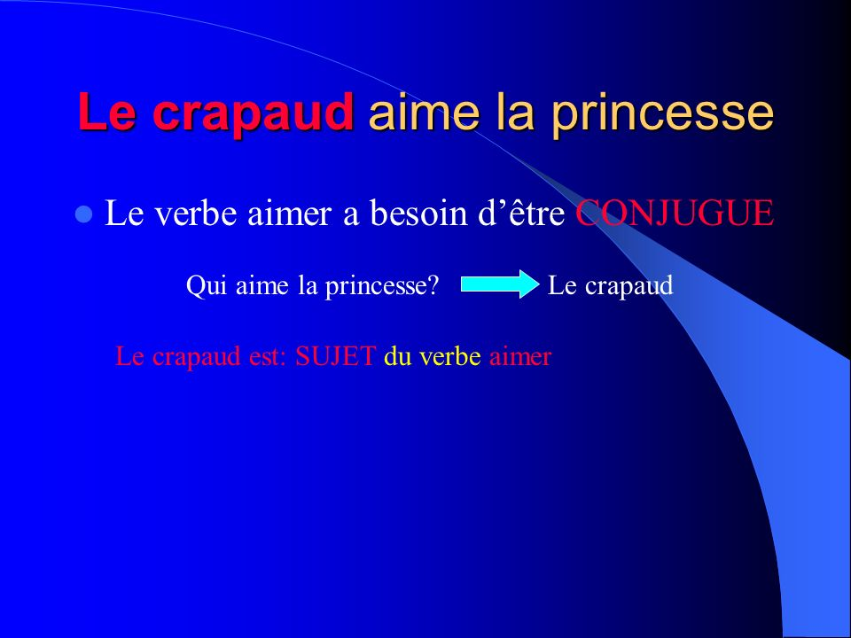 Le crapaud aime la princesse