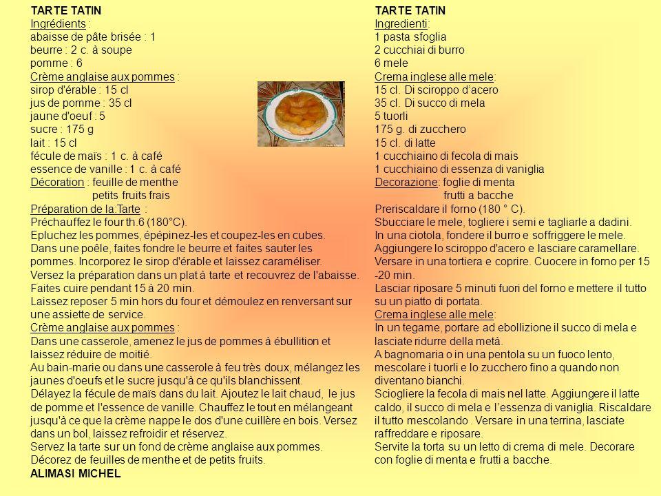 TARTE TATIN Ingrédients : abaisse de pâte brisée : 1. beurre : 2 c. à soupe. pomme : 6. Crème anglaise aux pommes :