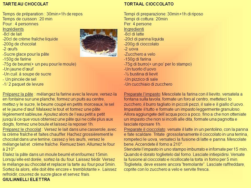 TARTE AU CHOCOLATTemps de préparation : 30min+1h de repos. Temps de cuisson : 20 min. Pour : 4 personnes.