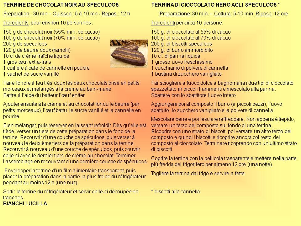 TERRINE DE CHOCOLAT NOIR AU SPECULOOS