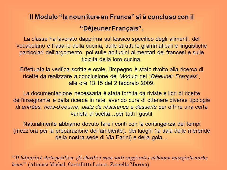 Il Modulo la nourriture en France si è concluso con il