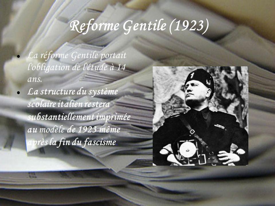 Reforme Gentile (1923) La réforme Gentile portait l obligation de l étude à 14 ans.