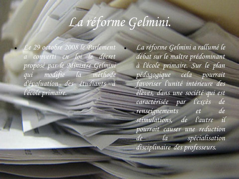 La réforme Gelmini.