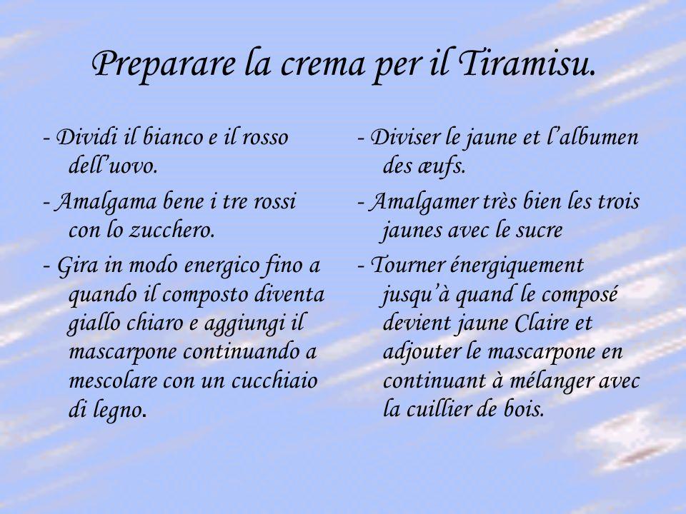 Preparare la crema per il Tiramisu.