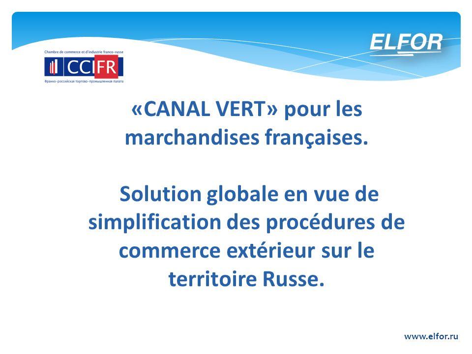 «CANAL VERT» pour les marchandises françaises.